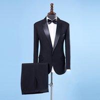 lüks düğün smokinleri toptan satış-Erkekler Şal Yaka 2 adet Slim Fit Lüks göster Şarkıcı Suits Mens Siyah Smokin Ceket + Pantolonlar için 2018 Erkekler Wedding Suit
