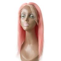 brazilian bakire vücut dalgası dantel ön toptan satış-Üst Sınıf Brezilyalı Saç 130% Yoğunluk Pembe Sarı Dantel Ön Peruk 10- 22 inç Vücut Dalga Düz Ücretsiz Kısmı Virgin İnsan Saç G-EASY