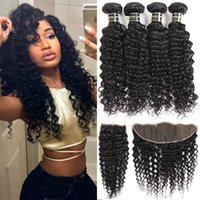 Wholesale cheap brazilian extensions - Brazilian Virgin Hair Deep Wave Bundles 4 deep curly bundles with closure Cheap Human Hair Weave Extensions and Ear to Ear Lace Frontal