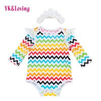 Wholesale Toddler Neck Warmer - Newborn girl Clothing Bodysuits Baby Girl Jumpsuits Headband Cotton Long Sleeves Stripe Warm Easter infant wave Soft Kids Toddler Clothes