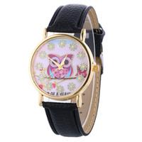 relógios pulseira de coruja venda por atacado-Aimecor Menina Bonito Pulseira Relógios Casuais PU Pulseira De Couro Relógios Coruja Padrão de Quartzo Relógio De Pulso