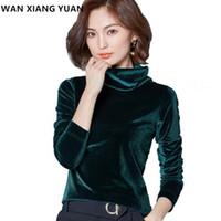 kadife turtle boyalı gömlek toptan satış-WANXIANGYUAN Kadınlar Uzun Kollu Bluz 2017 Sonbahar Moda Turtleneck Gömlek Kadınlar Bayanlar Kadife Sıcak Bluz Gömlek için
