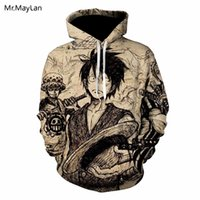 Wholesale women one piece clothing online - Harajuku Anime One Piece Luffy D Print Jacket Men Women Vintage Hiphop Pullovers Hat Sweatshirts Hoodies Boys Retro Clothes XL