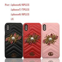 Wholesale Iphone Cases Pearls - Case for iPhoneX 8 7 6 8plus Luxurious brand metal two bees pearl leather phone case shell for Apple iPhone7plus hard back cover
