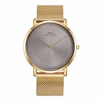 reloj ultra delgado para hombre de oro al por mayor-IBSO Relojes de moda para hombre 7MM Ultra Thin Yellow Gold Quatz Relojes Pulsera impermeable masculino Relogio Masculino 2822