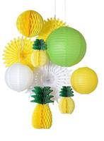 abanicos de papel amarillo al por mayor-Decoración de la fiesta de verano tropical conjunto (amarillo, verde) Linterna de papel de la piña de nido de abeja / Ventiladores / bolas Luau contexto fiesta hawaiana