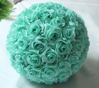 Wholesale white rose silk kissing balls online - 10inch cm Hanging Decorative Flower Ball Centerpieces Silk Rose Wedding Kissing Balls Pomanders Mint Wedding Decoration Ball