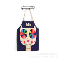 Wholesale Japanese Painting Canvas - Cotton And Linen Cartoon Pro-child Apron Painting Kitchen Bibs Restaurant Simple Japanese Creative Aprons CWT042
