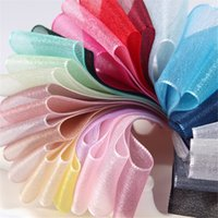 Wholesale fabric wreath - DIY Chiffon Ribbon Wedding Party Decoration Hair Accessories Bowknot Gift Packaging 28 Colors Transparent Fabric Ribbon