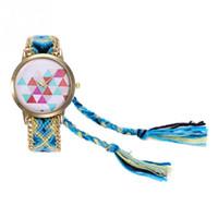 простые красочные часы оптовых-Fashionable 2018 Simple Women Casual Colorful Weave Wool Strap Quartz Wristwatch Watch