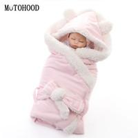 camas para recém-nascidos venda por atacado-MOTOHOOD Inverno Bebê Das Meninas Dos Meninos Cobertor Envoltório Dupla Camada de Lã Bebê Swaddle Saco De Dormir Para Recém-nascidos Cobertor Da Cama