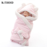 bebek battaniye kundaklama örtüsü toptan satış-MOTOHOOD Kış Bebek Erkek Kız Battaniye Wrap Çift Katmanlı Polar Yenidoğan Için Bebek Kundak Uyku Tulumu Yatak Battaniye