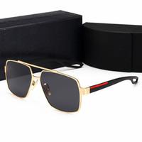 Wholesale square black glass plates - Retro Polarized Mens Designer Sunglasses Rimless Gold Plated Square Frame Luxury Brand Sun Glasses Fashion Eyewear With Case