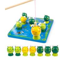 ahşap balıkçılık oyuncaklar toptan satış-Toptan montessori eğitici ahşap oyuncaklar Bebek balıkçılık sevimli balıkçılık kurbağa oyunu ebeveyn-çocuk bulmaca oyuncak