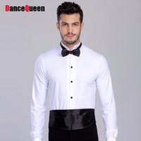 ropa de baile de tango al por mayor-2018 Nueva Llegada Salón de Baile Hombre Ballroom Baile Tops Camisas Para Hombre Latina / Tango / Rumba Dancewear Camiseta Superior DQ6032