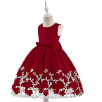 hand embroidered girls dress UK - European and American children's wedding dress girls special mesh hand-made three-dimensional embroidery flower puff princess dress