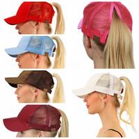 Wholesale ball hats - CC Ponytail Cap Messy Bun Women Ponytail Caps Cap Fashion Girl Basketball Hats Back Hole Pony Tail KKA4383