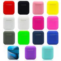 funda suave para iphone al por mayor-Para Apple Airpods Funda de Silicona Suave Ultra Thin Protector Funda Manga Bolsa para Air pods Estuche para auriculares 15 colores