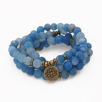 ingrosso blu guarisce-Braccialetto di pietra naturale del braccialetto di pietra blu del lago Smile naturale uomini d'avanguardia o braccialetto di guarigione di yoga di 108 Mala Hand Bracelet di Chakra Commercio all'ingrosso