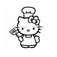 lila katzenhut großhandel-HotMeiNi Großhandel 20 teile / los Lustige Katze Koch Schürze CHEF Hut Vinyl Aufkleber Aufkleber Für Auto Lkw Fenster Auto Laptop Locker Glas