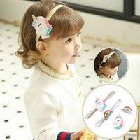 Wholesale gifts for kids girls online - Newest Unicorn Headband Baby Girls Cartoon Rainbow Hairband Hairpins set for Kids Princess Party Gift Hair Accessories KHA625