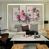 pinturas de peônias florais venda por atacado-Pintura da lona sem moldura 4 pcs estilo chinês modular pinturas de parede peônias flores cuadros decoracion pictures para sala de estar