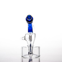 Wholesale special usa - Bong Oil Rig Glass Bongs USA STOCK 7'' Water Pipe With Special Block Shaped Recycler Perc 14mm Male Joint 2-7 Days Delivery WP0035