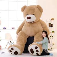 ücretsiz köpekbalığı oyuncakları toptan satış-1 adet Güzel Büyük Boy 130 cm ABD Dev Ayı Cilt Teddy Bear Hull Kızlar Için Yüksek Kalite Toptan Fiyat Satış Doğum Günü Hediyesi bebek