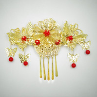 Wholesale red feather hair comb resale online - The bride headdress costume red tassel Hair Comb Wedding ornaments