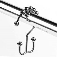 Wholesale glide ball online - 12PCS Pack cm Curtain Rollerball Curtain Glide Rings Hooks Polished Satin Nickel Ball Bathroom Accessories