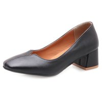 5b70ff4b6bda Smilice 2018 Woman Casual Pumps with Chunky Heel and Square Toe Elegant  Working Chic Shoes with Large Size Available A237
