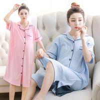 86b4e3a446141 For Pregnant Women Breastfeeding Pajamas Short-Sleeved Month Home Service Nursing  Clothes Cotton Maternity Dress Sleepwear