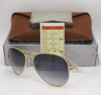 Wholesale uv light sun - 1pcs Excellent Quality Man Woman Gradient Metal Sunglasses Eyewear Designer Sun Glasses Gold Frame Light Gray Lens 58mm 62mm Glass UV Lenses