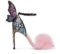Pink Feather Stiletto Heels Women Pumps Butterfly Wings Scarpe da sposa da  sposa Fibbia alla caviglia Strap Tacchi alti Sandali aa5b76fde71