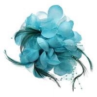 цветок булавки перья оптовых-Булавка Малахитовое Зеленое Перо Ткань Форма Цветка для Женщин Девушка Подарок