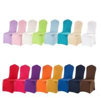 capas de cadeira de spandex usadas venda por atacado-Banquete de casamento usar capas de cadeira de poliéster spandex, 16 cores para escolher cadeira capas para cadeiras de banquete de casamento