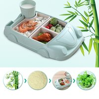 Wholesale foods fiber resale online - 3 Piece Dinnerware Plate Set for Kids and Toddlers Bamboo Fiber FDA Approved Food Tray for Child