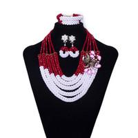 perlen halskette zubehör für frau großhandel-5 Reihen Dubai Kristall Perlen Afrikanische Perlen Halskette Nigerianischen Hochzeit Perlen Brautschmuck Schmuck Afrikanischen Modeschmuck Set für Frauen