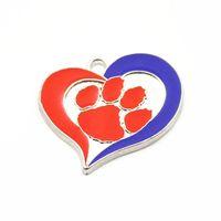 ingrosso orecchini pendenti smaltati-12pcs Smalto College Of Clemson Tigers Pendente di Fascini Per la collana Del Braccialetto Orecchino Moda NCAA Sport Ciondola I Monili di Fascini