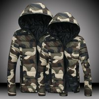 Wholesale Cool Male Jackets - 2017 Slim Winter Men Army Green Camouflage Jacket Plus Size 4XL Male Cool Punk Hip Hop Padded Coat Man Hooded Warm Rock Jackets