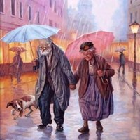 Wholesale Old Canvas Paintings - OLD COUPLE New Cross Stitch 5D DIY Dog Square Picture Full Diamond Painting Needlework Embroidery Round Rhinestone