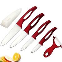 kırmızı işlenmiş bıçak takımları toptan satış-Güzellik Hediyeler Zirkonyum iyi kırmızı kolu Seramik meyve Bıçak mutfak Set 3