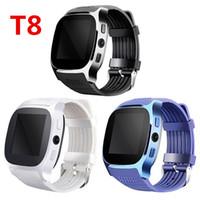 hombres libres dhl reloj al por mayor-T8 Bluetooth Smart Podómetro Relojes Soporte Tarjeta SIM TF Con Cámara Sincronización Mensaje de llamada Hombres Mujeres Reloj Smartwatch DHL gratis