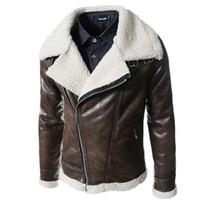 Wholesale winter wool coat buckles - Men Motorcycle Faux Leather Jacket Winter Thick Warm Lambskin Fur Lining Coat Slim Outerwear jackets buckle collar bomber jacket