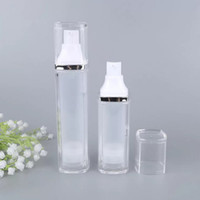 Wholesale airless cosmetic bottles resale online - 30ml ml Empty Airless Pump bottles Square Acrylic Portable Vacuum Cosmetic Cosmetic Treatment Lotion Cream Pump Travel bottle