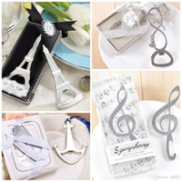 Wholesale love notes resale online - Romantic Wedding Souvenirs Bardian Carry Convenient Bottle Openers Boat Anchor Musical Note Love Eiffel Tower Shape Opener Silver cd4 dd