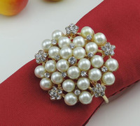 Wholesale rhinestones pearls napkin rings for sale - Group buy Pearl rhinestones silver napkin rings napkin buckle napkin holder party wedding table decoration accessories