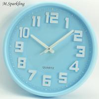 grandes presentes para o aniversário venda por atacado-M.Sparkling Simples Relógio de Parede de 12 Polegada de Doces Cor 5168S Varredura Silenciosa Segundos Modernos Relógios Crianças Relógio De Plástico Pendurado Relógios