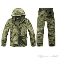 Wholesale hunting clothes green - Wholesale-TAD Stalker Shark Skin Camouflage Hunting Jackets Fishing Waterproof SoftShell Outdoor Jacket Set Sport Army Clothes S6