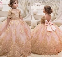 Wholesale girls gold pageant for sale - 2018 Princess Gold Appliques Pink Flower Girl Dresses Jewel Neck Half Sleeves Tulle Ball Gown Girl Pageant Party Dress With Bow